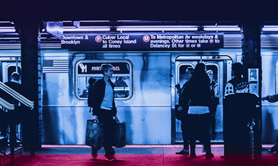 Commuters exiting subway train